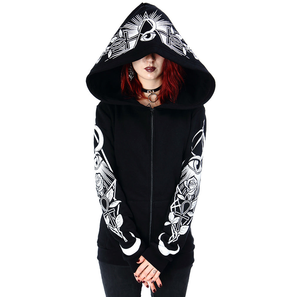 Front image of hoodie on model