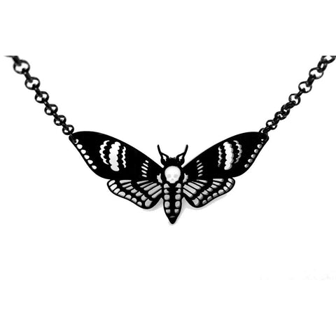 Curiology - DEATHS HEAD MOTH - Large Necklace - Black - Fashion Jewellery