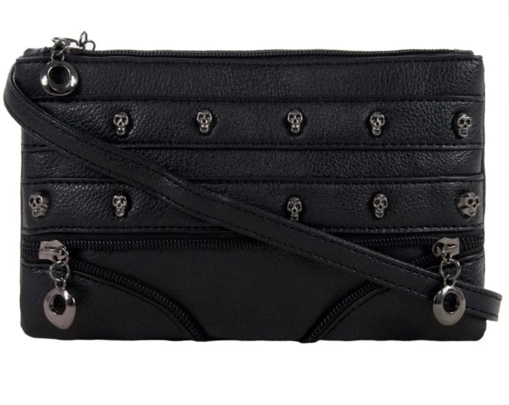 Gothx - SKULL ROWS - Handbag Clutch Evening Handbag