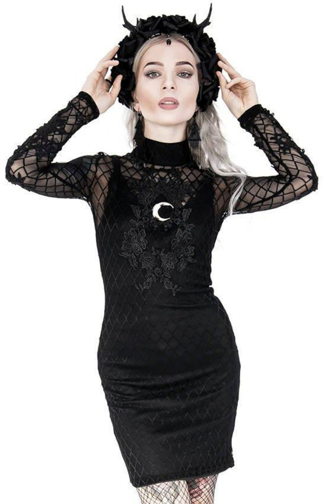 Restyle - Full Moon - Gothic Pencil Mesh Dress with Lace Embroidery