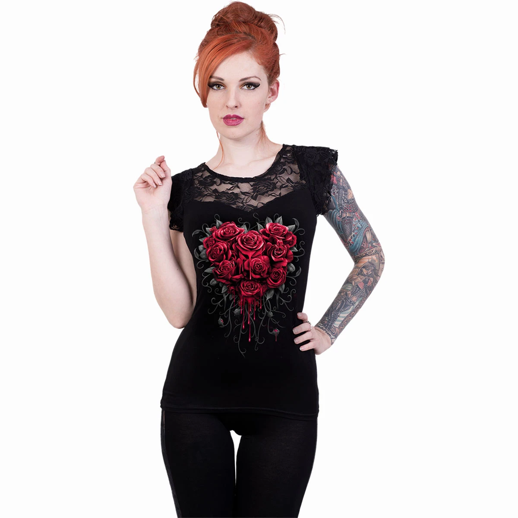 Spiral - BLEEDING HEART - Lace Layered Capsleeve Top