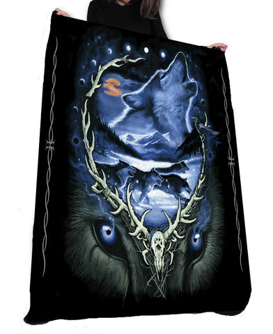 Wild Star Hearts - WOLF MOON RUN - Fleece / Throw / Tapestry