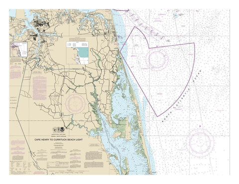 Cape Henry to Currituck Beach Light - Virginia and North Carolina Nautical Chart Vinyl Print