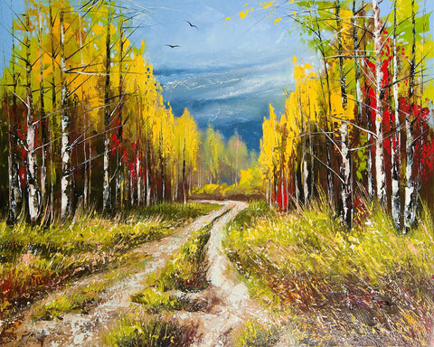2 Lane Dirt Road - Oil Painting Look Vinyl Print