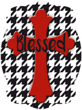 Cross On Houndstooth Background Door Hanger