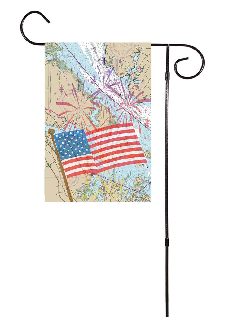 American Flag & Fireworks Nautical Garden Flag