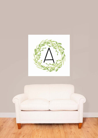 Green Wreath with Initial Square Vinyl Print