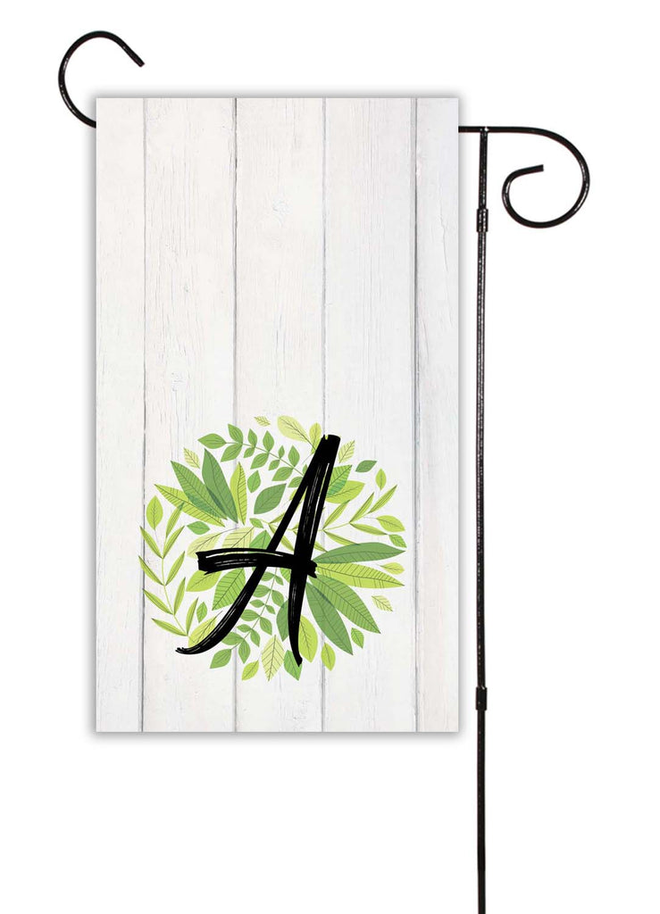 Rustic Wood And Green Leaves Initial Garden Flag Shut The Front