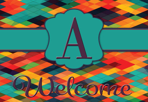 Bold Colorful Diamonds Initial Welcome Mat