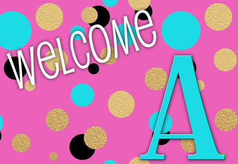 Pink Polka Dots Initial Welcome Mat