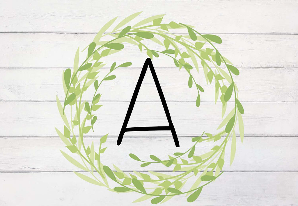Rustic Farmhouse Wood with Green Wreath Initial Welcome Mat