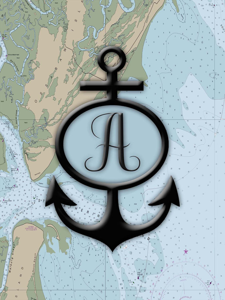 Nautical Chart / Map with Anchor and Initial Sailcloth Print