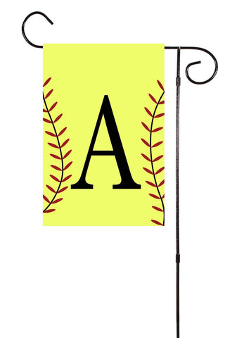 Softball Initial Garden Flag
