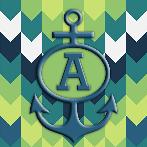 Chevron with Anchor and Initial Square Sailcloth Print