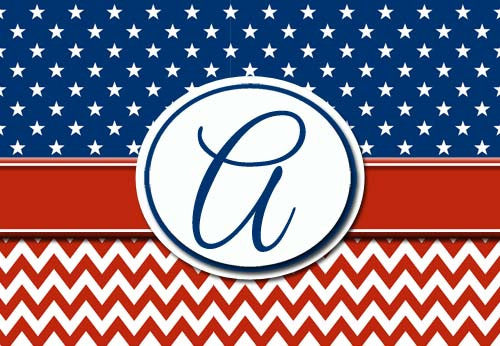 Patriotic Initial Welcome Mat