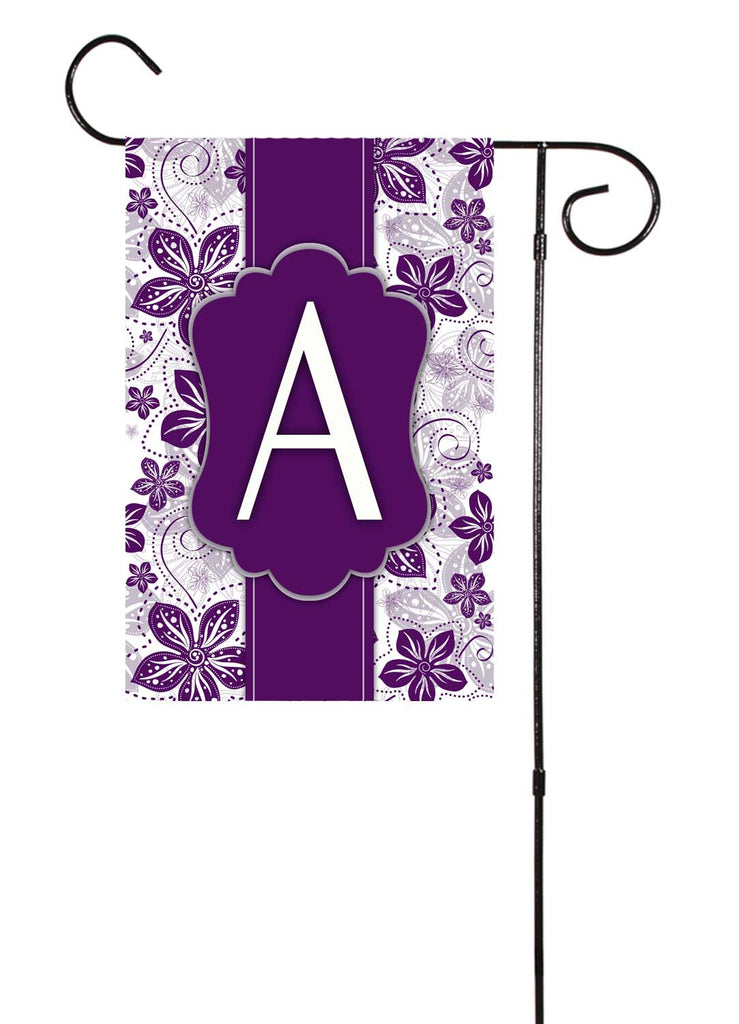 Purple Floral Initial Garden Flag Shut The Front Door By Unique
