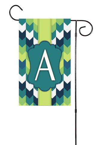 Blue & Green Chevron Initial Garden Flag