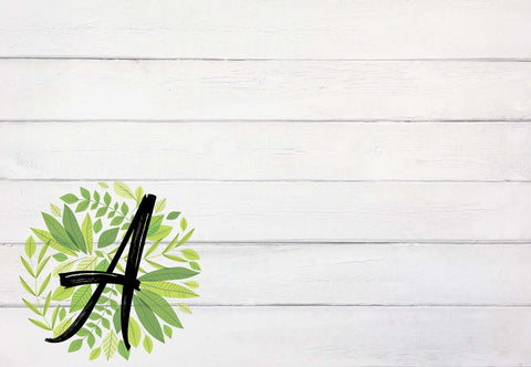 Rustic Farmhouse Wood with Green Leaves Initial Welcome Mat