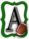 Green & White Football Door Hanger