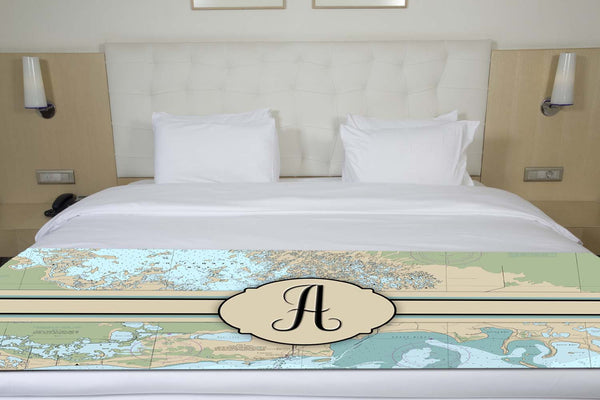 Nautical Chart With Initial Bed Runner Shut The Front