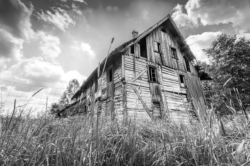 Abandoned Wooden Rural Farm House Black & Vinyl Print