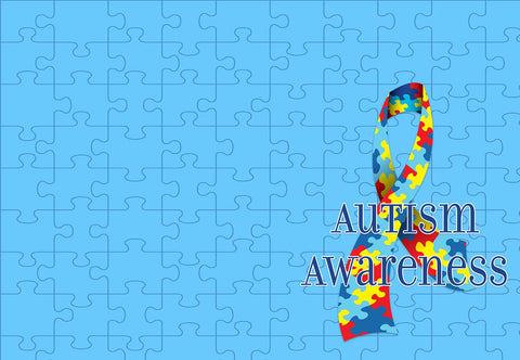 Autism Awareness Puzzle Piece Ribbon Welcome Mat