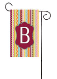 Whimsical Stripes Initial Garden Flag