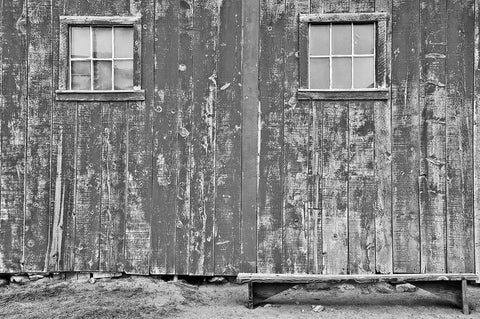 Barn With Bench Black & White Vinyl Print