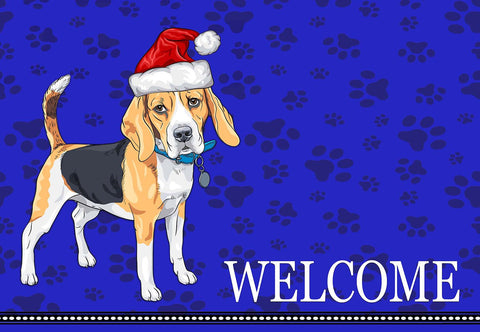 Christmas Beagle Welcome Mat