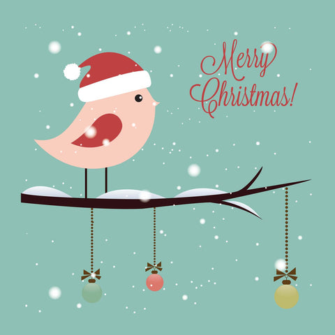 Merry Christmas Bird Vinyl Print