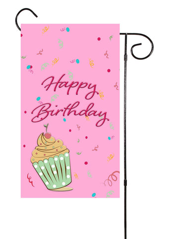 Birthday Cupcake Garden Flag
