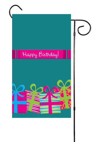 Happy Birthday Pink Presents Garden Flag