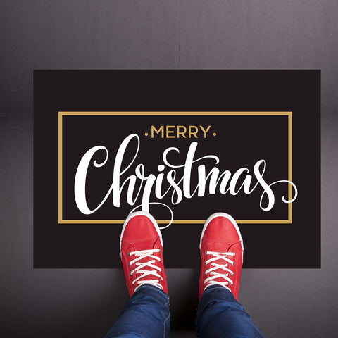 Black Amp Gold Classic Merry Christmas Welcome Mat Shut