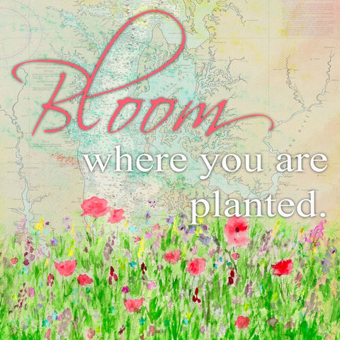 Bloom Where You Are Planted on map - Sailcloth Print