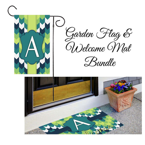 Blue & Green Chevron Garden Flag & Welcome Mat Bundle