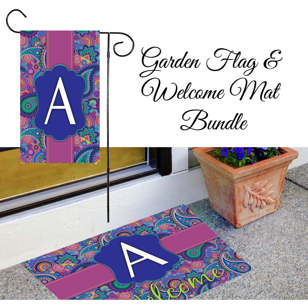 Paisley Garden Flag & Welcome Mat Bundle