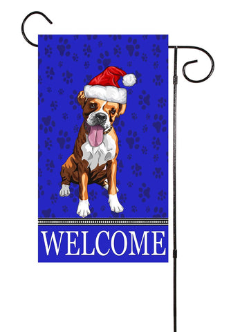 Boxer With Santa Hat Dog Garden Flag