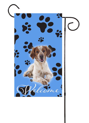 Brittany Spaniel Dog Paw Print Welcome Garden Flag