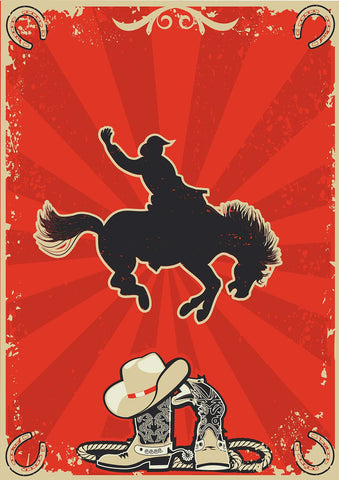 Bucking Broncs Rodeo Vinyl Print