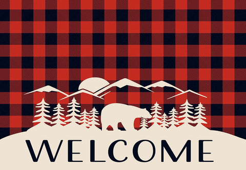 Buffalo Red Black Check with Bear Welcome Mat