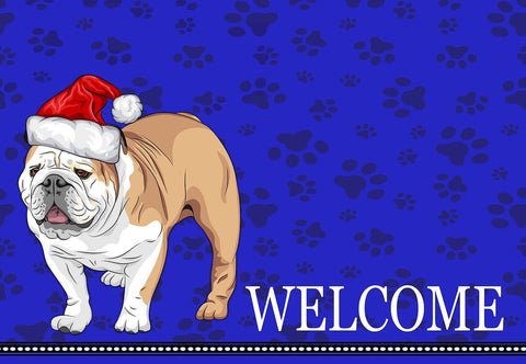 Christmas English Bulldog Welcome Mat