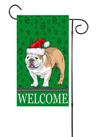 Christmas English Bulldog Garden Flag