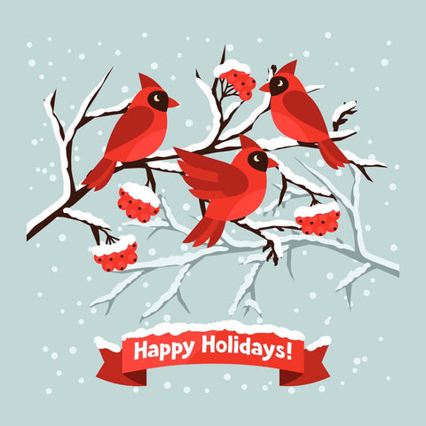 Cardinals -  Merry Christmas Vinyl Print