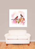 Cardinals on a Branch Watercolor Vinyl Print