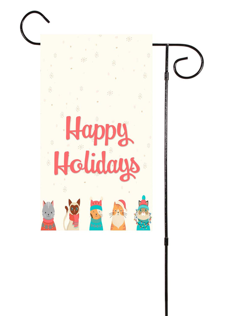 Happy Holidays - Christmas Cat Garden Flag