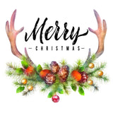 Merry Christmas with Deer Antlers and Pine Vinyl Print