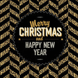 Merry Christmas And Happy New Year Gold And Black Chevron Vinyl Print