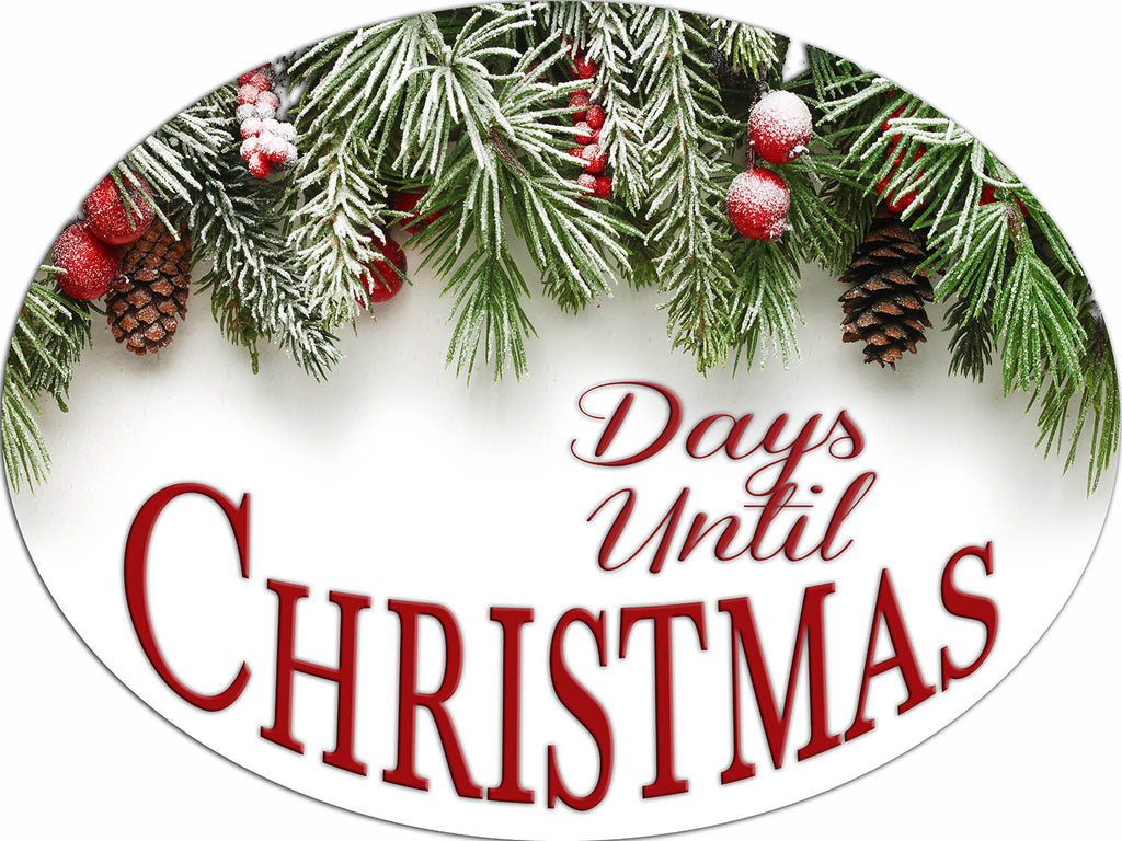 Countdown Until Christmas Dry Erase Pine & Holly Sign