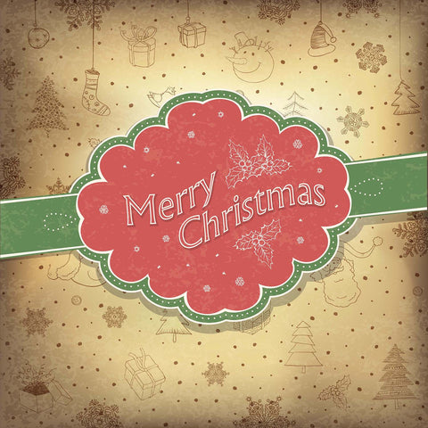 Merry Christmas Vintage Hand Drawn Background Vinyl Print