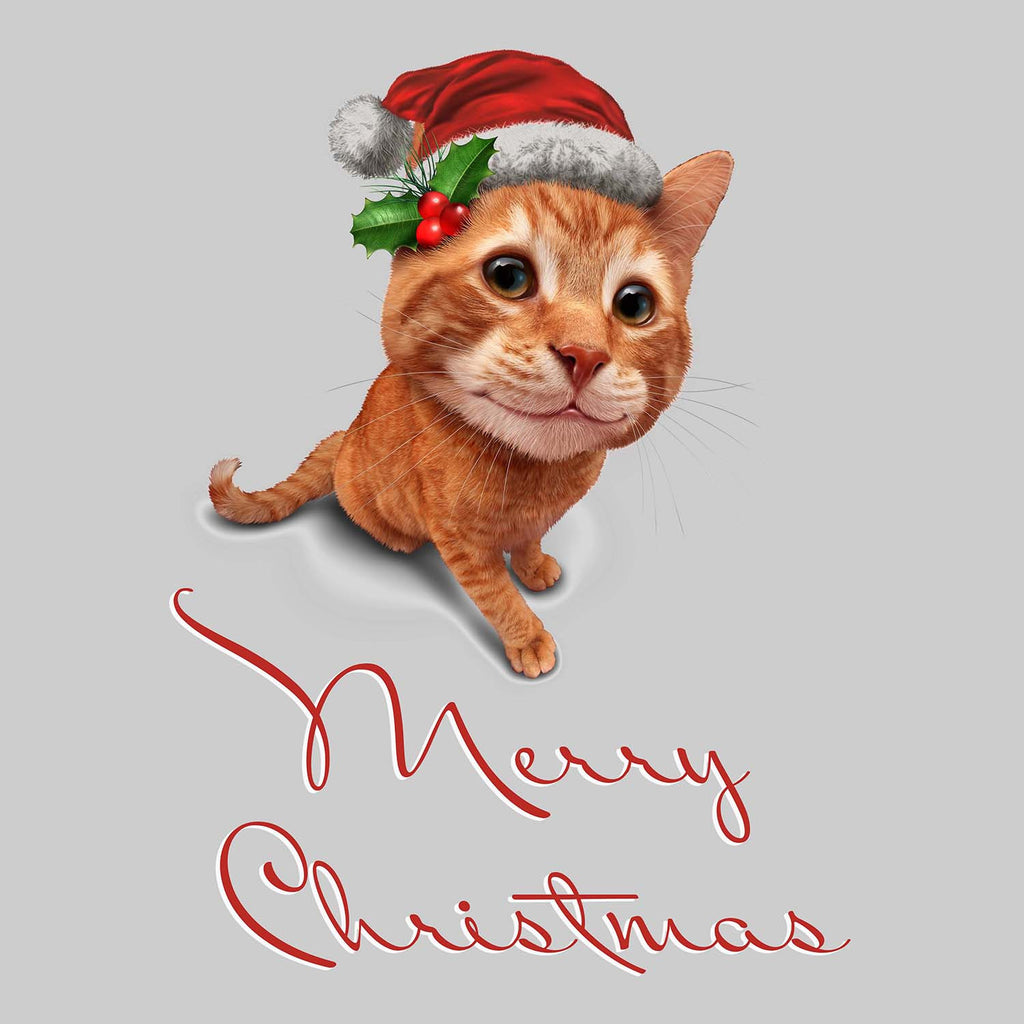 Cat With Santa Hat Christmas Vinyl Print
